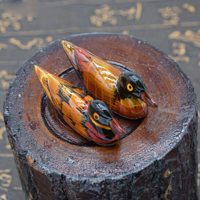 Mandarin Ducks Shaped Resin Miniatures 2 pcs Set