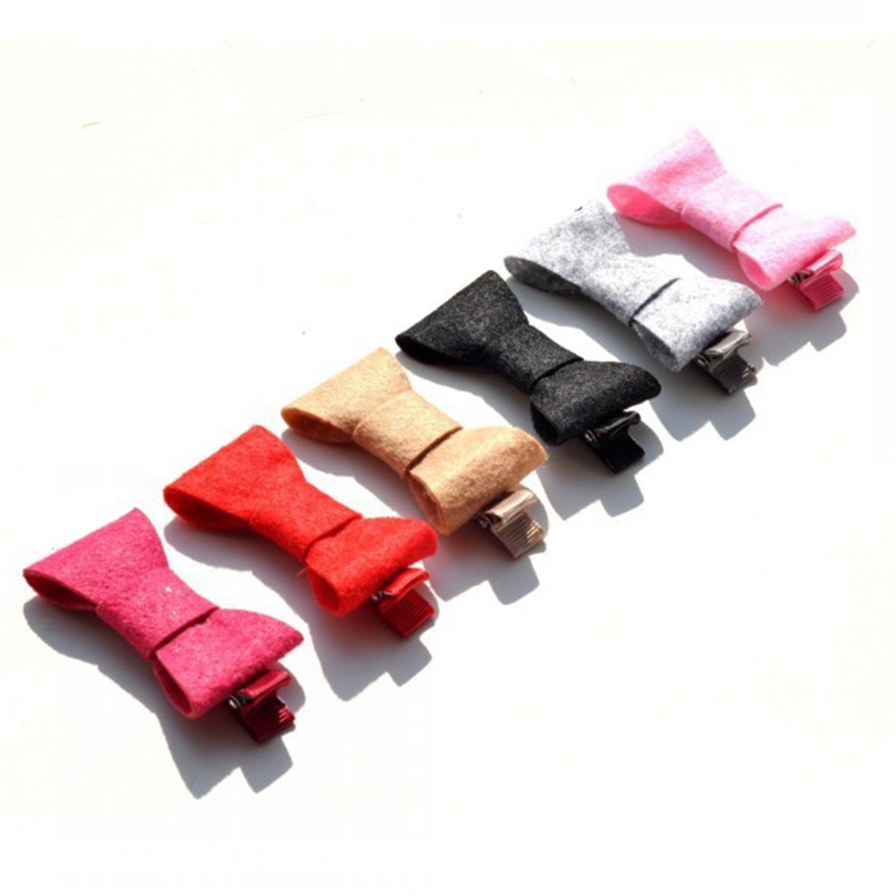 120pcs/lot 2inch 6color Lovely Felt Bow With Ribbon Clip Fashion Solid Fabric Hair Bows For Girls Hair Accessories HairClips DIY