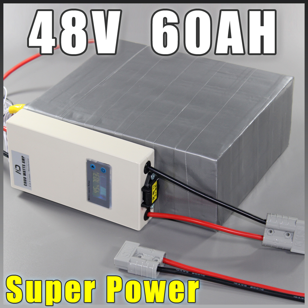 48V 60Ah LiFePO4 Battery Pack ,3000W Electric Bicycle Battery + BMS Charger 48v lithium scooter electric bike battery pack factory direct price 60v 60ah diy rechargeable lithium ion battery powered 3000w electric chopper bike