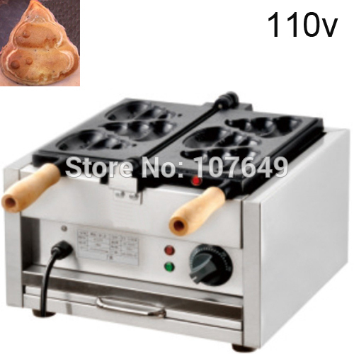 Free Shipping to USA/Canada/Japan/Mexico 3pcs Commercial Use Electric 110v Poo Pancake Maker Iron Machine Baker donut making frying machine with electric motor free shipping to us canada europe