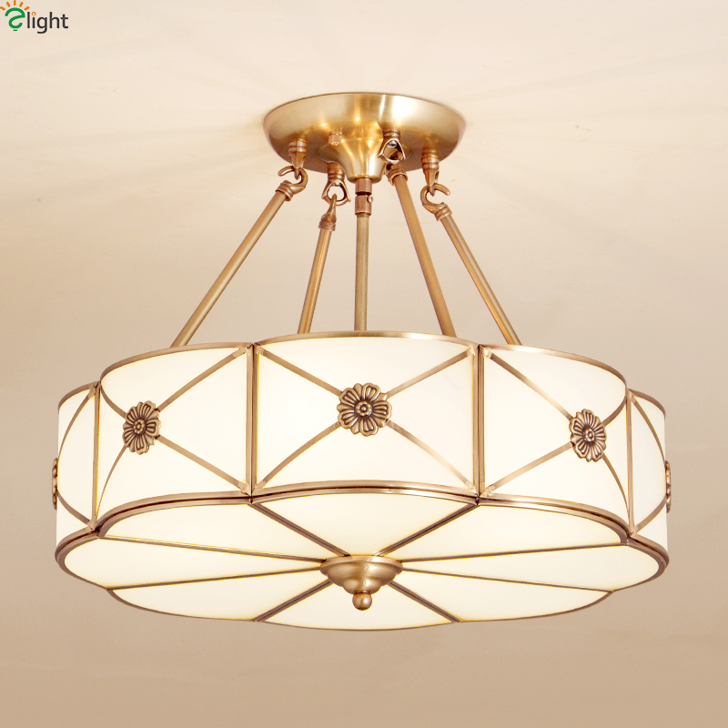 Europe Lustre Copper Led Pendant Chandeliers Lights Glass Bedroom Led Chandelier Lighting Fixture Dining Hanging Light Luminaria