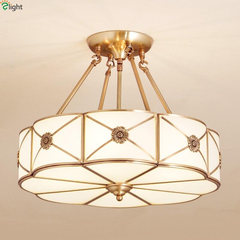 Europe Lustre Copper Led Pendant Chandeliers <font><b>Lights</b></font> Glass Bedroom Led Chandelier Lighting Fixture Dining Hanging <font><b>Light</b></font> Luminaria