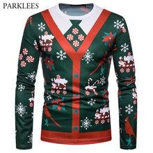318500b7 Brand 3D Print Long Sleeve Christmas T Shirt Men 2018 Fashion Fake Two  Piece Hip Hop T-shirt Male Harajuku Streetwear Tops Tees