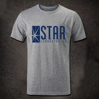 [XHTWCY]American Drama The Flash T Shirts Star Laboratories Gotham City Comic Books TV Star Labs Short Sleeve T shirts Clothing