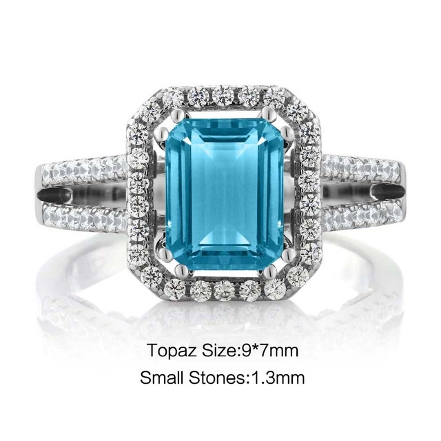 GemStoneKing 2.78 Ct Emerald Cut Natural Blue Topaz Wedding Bands  925 Sterling Silver Engagement Rings For Women