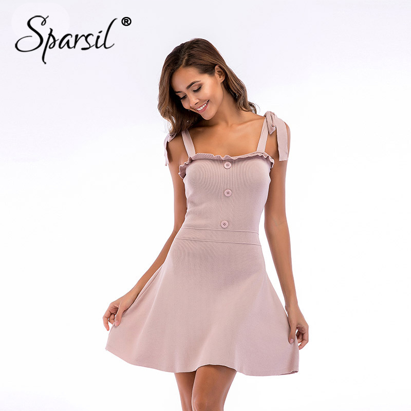 Sparsil Women Dress Female A Line Elegant Knit Dresses Lady Sexy Lace Up Party Sweaters  ...
