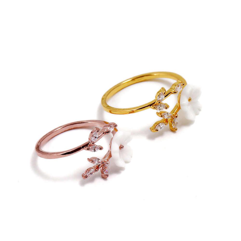 Nouveau cristal cuivre fleur branche feuille réglable doigt anneaux de mariage pour les femmes or Rose Zircon anneau ouvert Glamour bijoux cadeau