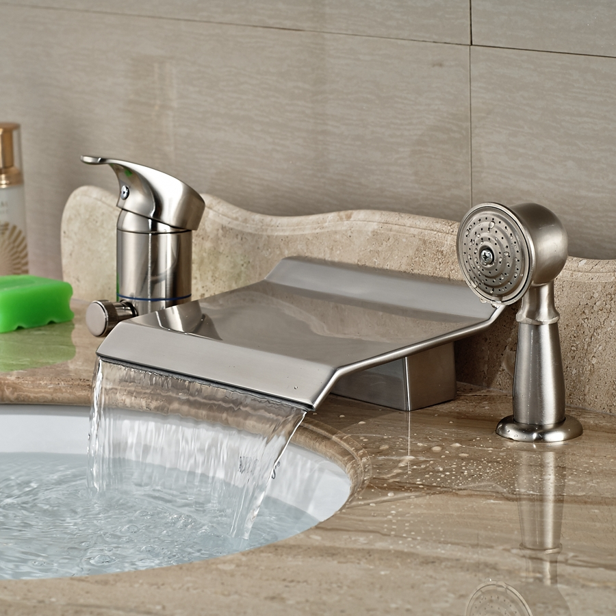 wholesale and retail promotion deck mounted brushed nickel waterfall bathroom tub faucet 3 hole w