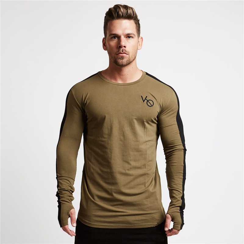 men long sleeved t shirt gyms Fitness-6