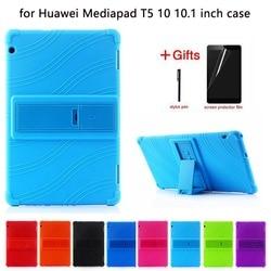 Coque silicone pour Huawei MediaPad T5 AGS2-W09/L09/L03/W19 housse de support 10.1 pouces pour huawei mediapad T5 10 coque souple + FILM + stylo