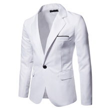 цены на New Arrival Men Blazer Fashion Solid Slim Fit Suit Jacket 2019 High Quality Cotton Male Long Sleeve Single Button Casual Blazers  в интернет-магазинах