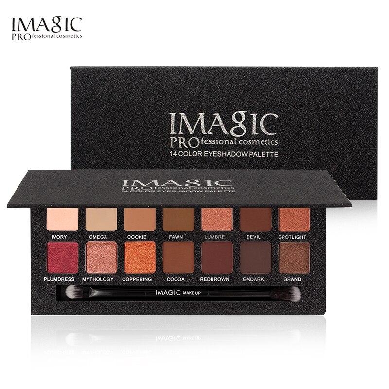 IMAGIC 2017 New 14 Color Matte Nude Eye Shadow Pallete Cosmetics Waterproof Mineral Powder Pigments Eyeshadow Palette