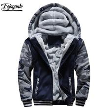 FOJAGANTO Men High Quality Hoodies Top Winter Male Warm Fashion Camouflage Sweatshirt Mens Casual Thicken Hoodies