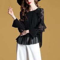 New Arrival 2019 Women's Blouse Pleated Lace Shirt Lotus Leaf Ruffle Blouse Blusas Mujer De Moda 2019 Shirts Women Tunic Tops