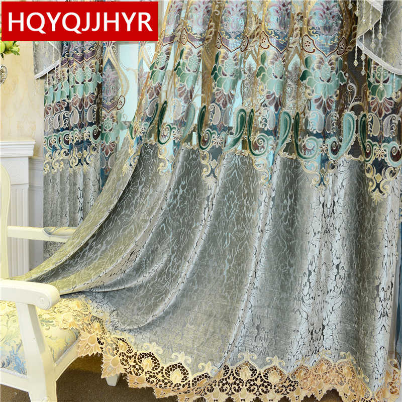 European crack style luxury embroidered villa Valance curtains for Living Room with high quality Voile Curtain for Bedroom