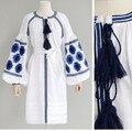 6 colores otoño invierno para mujer de algodón vestidos de estilo étnico bordado borla vestidos de manga farol ropa de mujer d68604r