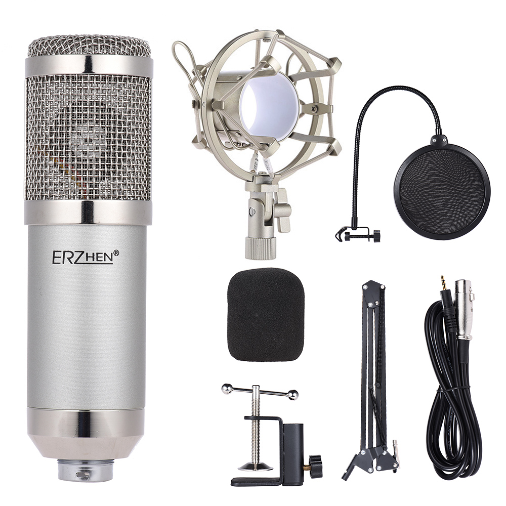 Professional Studio Broadcasting Recording Condenser Microphone Mic Kit Set 3 5mm with Adjustable Suspension Stand