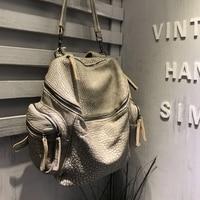 Vendange original handmade motorcycle bag sheepskin ladies retro leather leisure backpack/ shoulder bag 2401