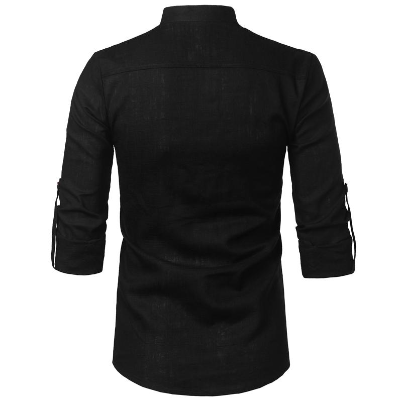 Tunique col Mao noir, manches longues, avec poche, vue arrière