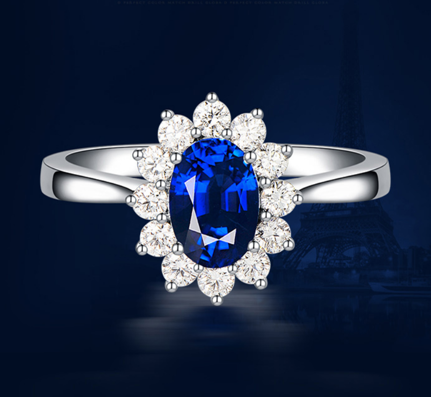 1 carat pure 925 silver ring tanzanite man made diamond ring blue flower ring for women US size from 4.5 to 9(LA)