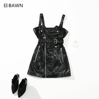 2018 Women Black Sexy Genuine Leather Mini Dresses Casual Ladies High Waist Sleeveless Zippers Slim Fit Sexy Dresses for Women