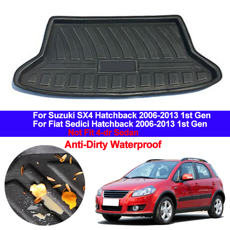 Car Rear Trunk Mat Cargo Tray Boot Liner Carpet Protector Floor Mats For Suzuki SX4 Fiat Sedici Hatchback 2006 - 2013 1st Gen