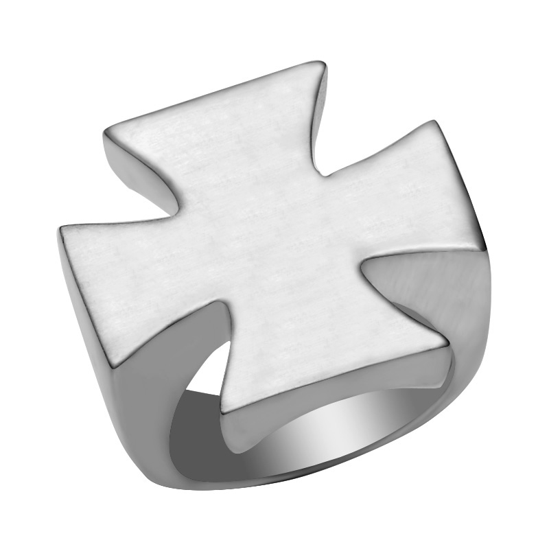 Stainless Steel 2 Color Pattee Cross Band Ring