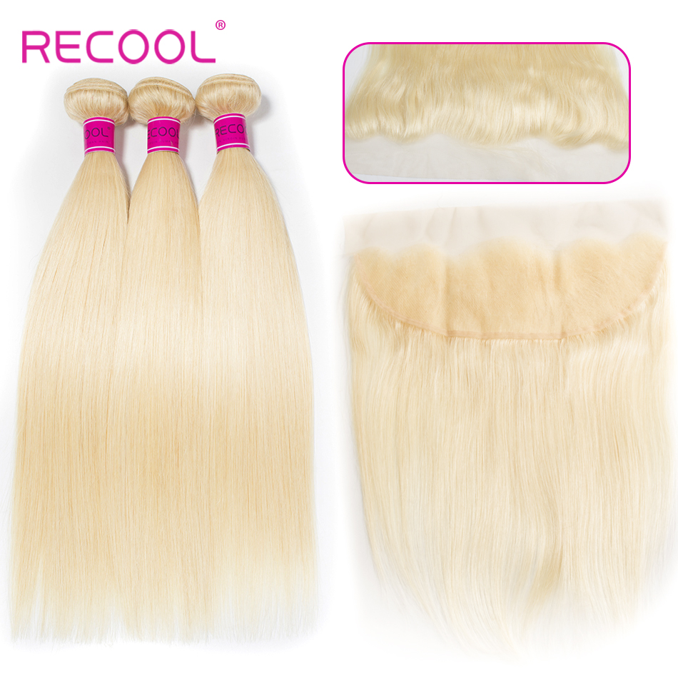 Recool Hair 613 Bundles With Lace Frontal Honey Blonde Color Brazilian Straight Remy Hair Weave 3 Bundles with 13*4 Closure-in 3/4 Bundles with Closure from Hair Extensions & Wigs    1