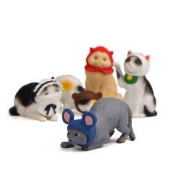 1pc Cosplay Cat Figurine Miniature Kitten Mouse Animal Decoration mini fairy garden Cartoon statue Art craft Home Car Decorative