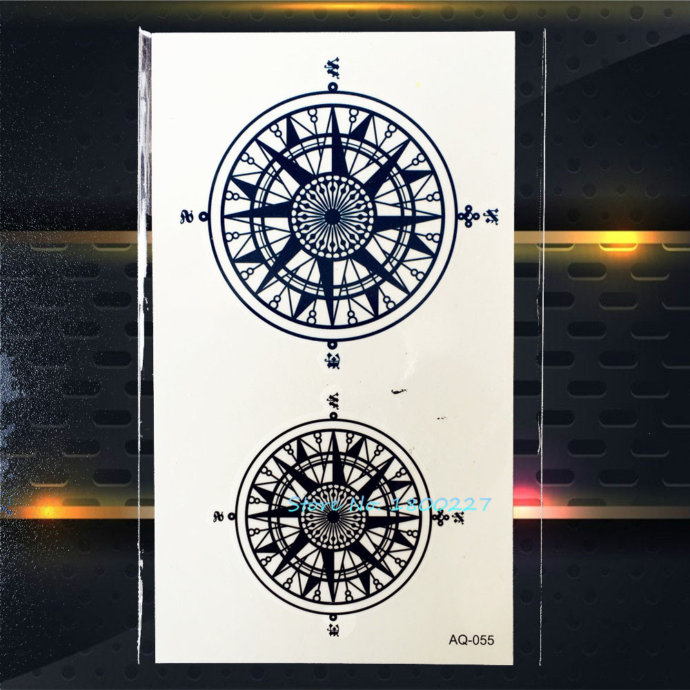 1pc Black Compass Temporary Tattoo Stickers For Women PAQ-055 Indian Sun Flower Totem Anchor Pirates Fake Flash Tattoo Paste