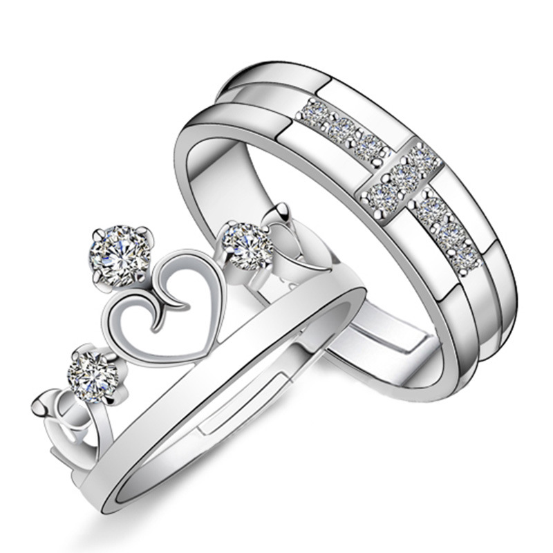 Js Cheap Korean 925 Silver King Queen Princess Couple Crown Shaped Ring Women Rhinestone Crystal Cross