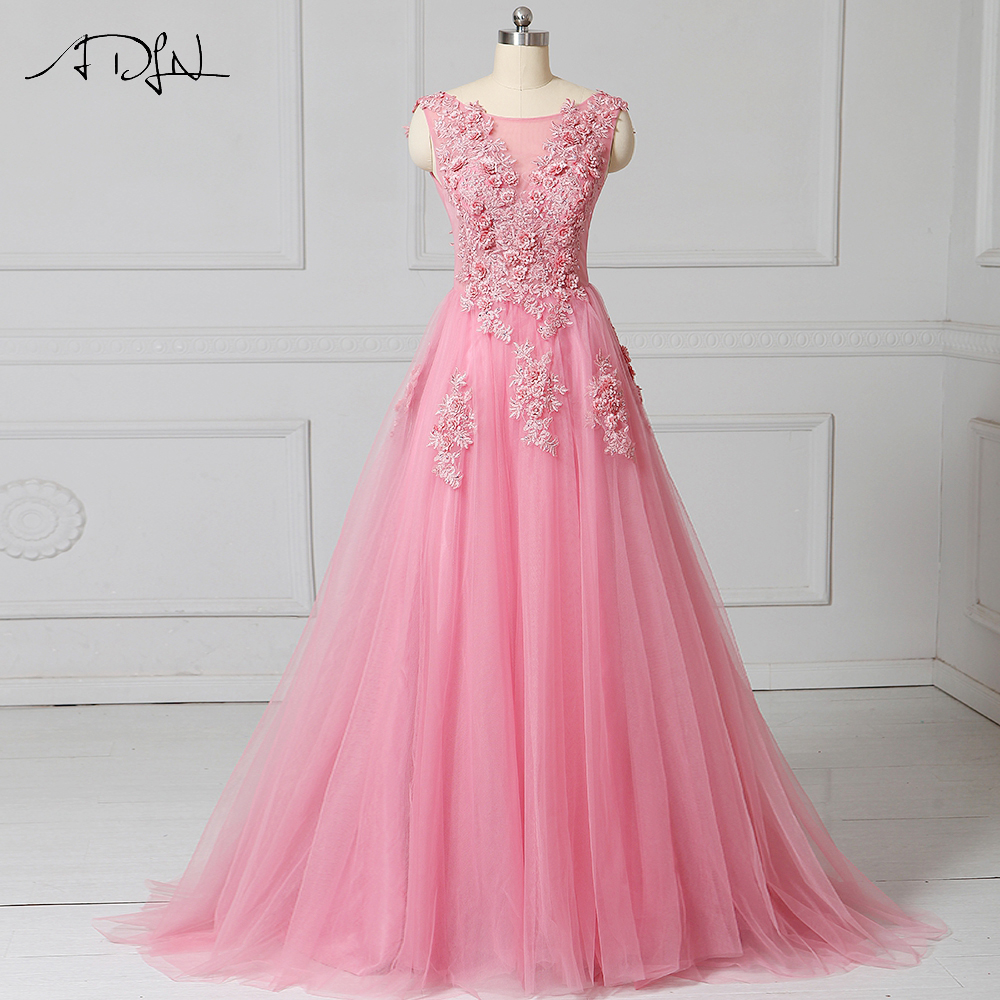 ADLN New Arrival   Evening     Dress   A-line Tulle Sleeveless Cheap Prom   Dresses   Robe De Soiree Party   Dress   With Applique Flowers