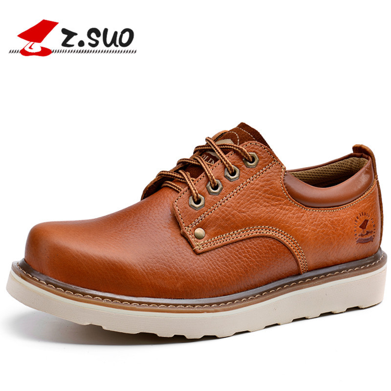 Z.Suo Fashion Spring/Autumn men shoes Genuine Cow Leather shoes Lace-Up Breathable/Comfortable British Style Men's Casual Shoes men s leather shoes vintage style casual shoes comfortable lace up flat shoes men footwears size 39 44 pa005m