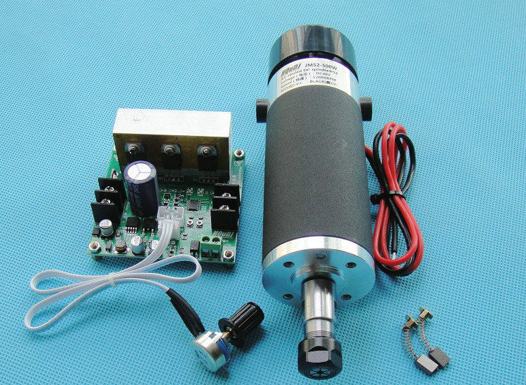 ER11 DC48V 500W spindle motor + Mach3 governor external brush high-speed air-cooled spindle motor PCB spindle dc110v 500w er11 high speed brush with air cooling spindle motor with power fixed diy engraving machine spindle