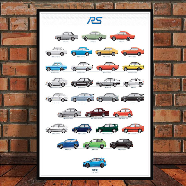 Ford Mustang Rs Evolution Car Poster And Prints Wall Art Canvas Painting Pictures Living Room Home
