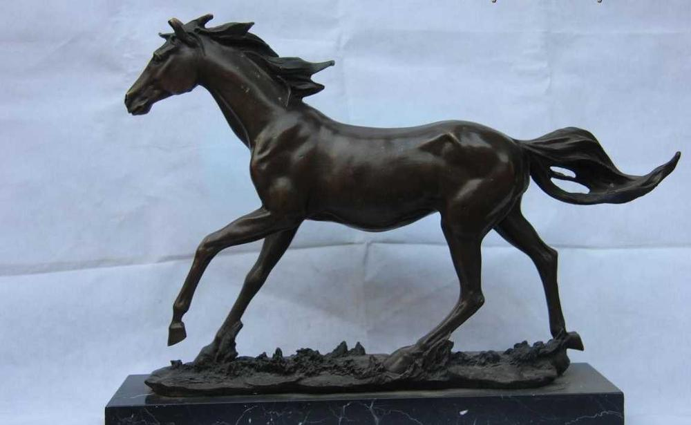 Chinese Royal Classic Bronze Sculpture Running Horse Art Statue Base Of Marble