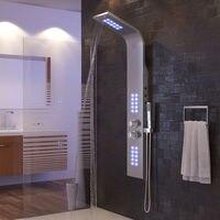 New Sliver Stainless Steel Bathroom Shower Faucet LED Shower Panel Column Bathtub Mixer with Hand Shower HWC