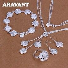 New Arrival biżuteria ze srebra próby 925 romantyczna róża naszyjnik kwiatowy kolczyk bransoletka pierścionek zestaw dla kobiet biżuteria ślubna