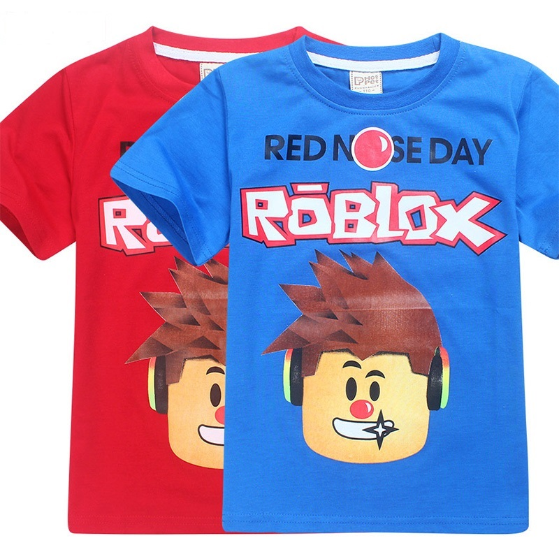Kids Clothes ROBLOX RED NOSE Day T Shirt Children's Day Kids Boys T-shirt Girls Tops Tees Cartoon five nights at freddy's Tshirt new hot summer kids boys girls cartoon tees tshirt kids t shirt short sleeved tops cotton clothes pattern cactus cicishop