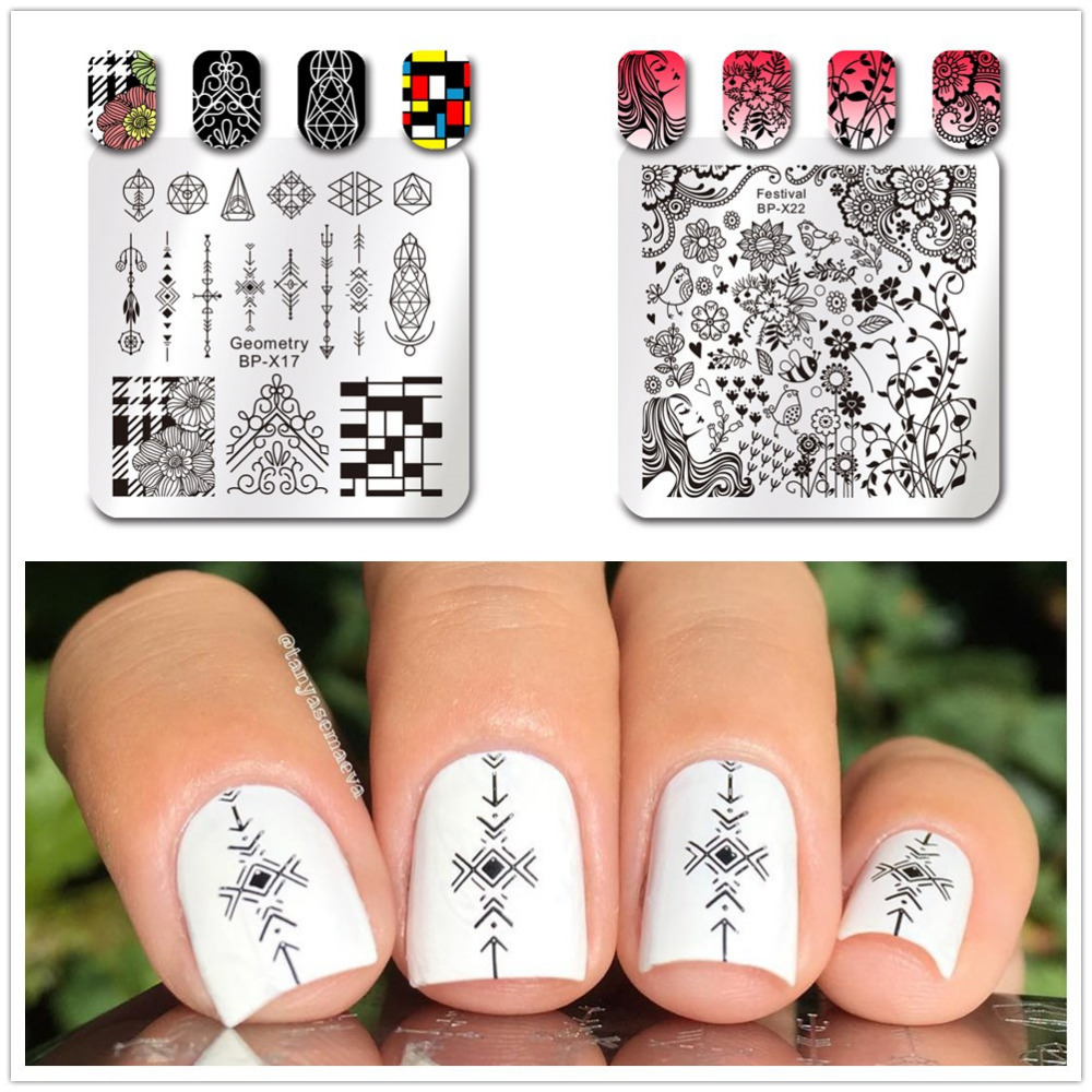 BORN PRETTY 1 Pc Square Nail Art Stamp Template Movie Cinema Flower Design Image Nail Art Stamping Plate Stencil Tool ...
