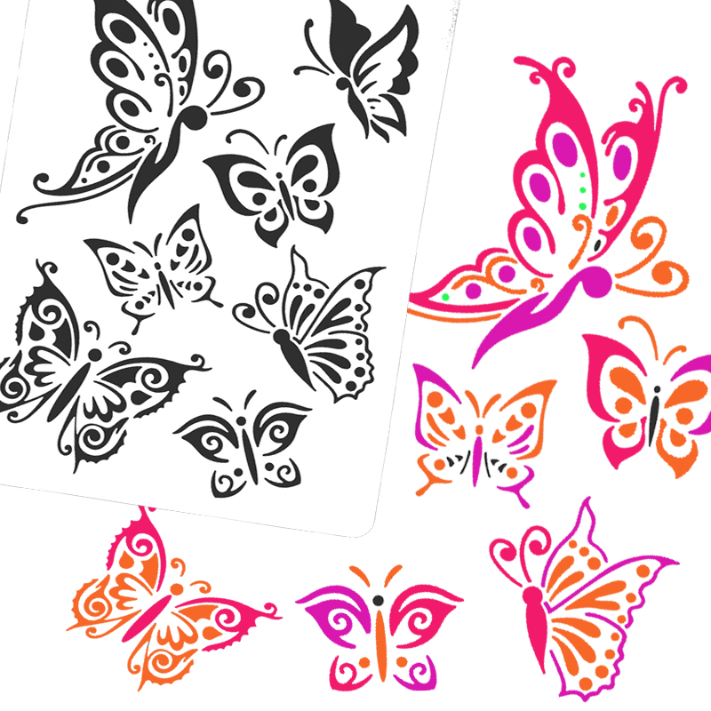 Children painting stencil templates with water color pen set more.