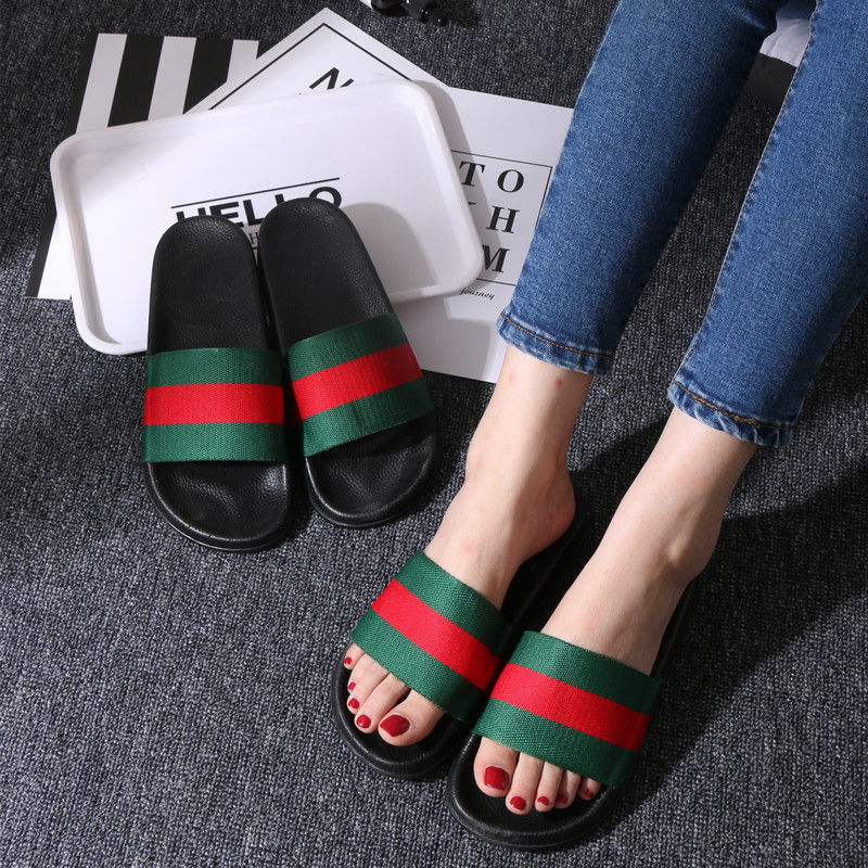 Women Summer Slippers Stripe Design Summer Flat Slides Beach Sandals Outdoor Anti-skidding Slip On Flip Flop Flat Slippers summer flat sandals female gladiator sandals basic slippers stripe flat heel anti skidding beach shoes sandalias