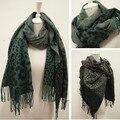 Хиты 2014 продажа новая осень и зима высокое качество элегантный леопардовый кисти кашемир шерсть большой мыс шарф пашмины для женщин