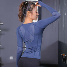 New Mesh Lace splice summer casual cool TShirts Blue Black Rose Gym Sports girls Tops Women Long Sleeve Fitness Sport Wear lady