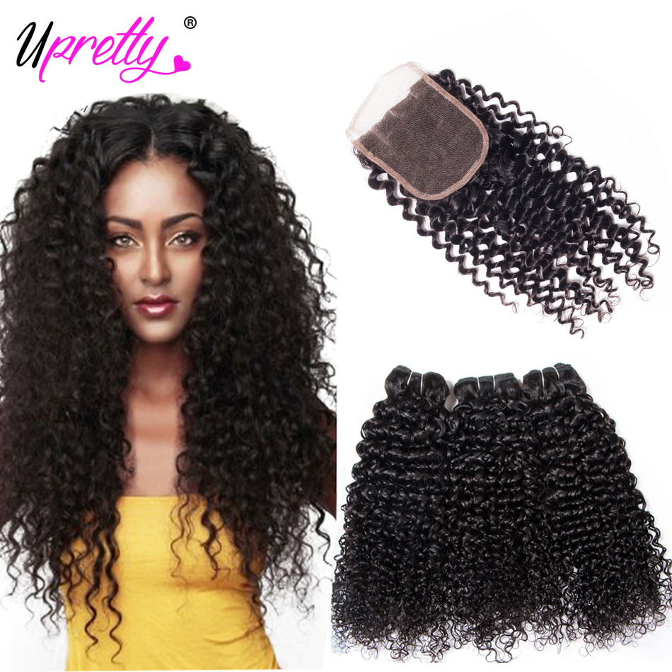 Mink Brazilian Curly Hair Bundles With Closure 3 Bundles Curly Weave Human Hair Bundles With Lace Closure Remy Hair Extensions