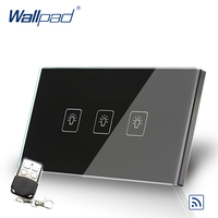 Black 3 Gang Remote Control Touch Switch Crystal Glass Switch Wallpad Luxury US AU Standard Switch