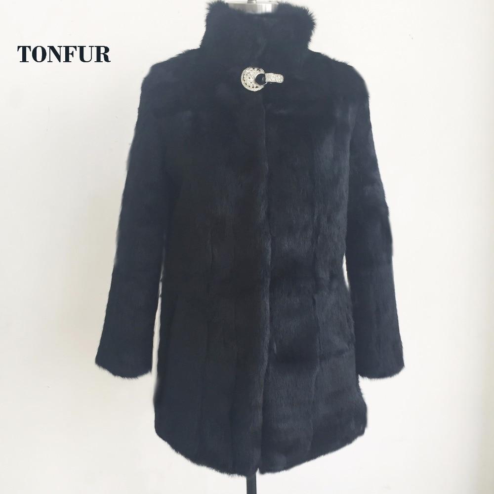 2019 Diamond Button Thick Warm Fur Outwear Real Rabbit Fur Long Coat Factory wholesale Retail nature
