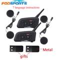 Гарнитура для мотоциклетного шлема Fodsoprt V6 Pro  2 шт.  Bluetooth  интерком для 6 riders  BT  беспроводной интеркомуникатор  MP3  gps