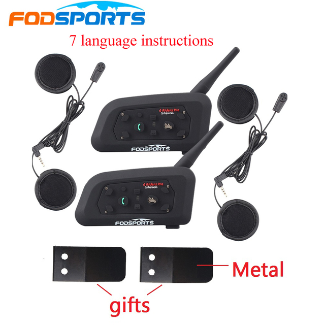 2 PCS Fodsoprt V6 Pro Capacete Da Motocicleta Bluetooth Intercom Headsets para 6 pilotos BT Sem Fio intercomunicador Interfone MP3 GPS
