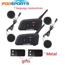 2 pçs fodsoprts v6 pro capacete da motocicleta bluetooth fones de ouvido interfone para 6 pilotos bt intercomunicador sem fio mp3 gps